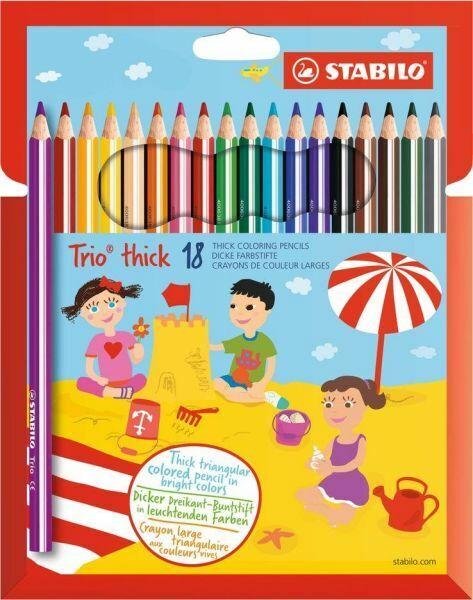 18 x Stabilo® Trio Dreikant Buntstift Farbstift, dick, 4,2 mm, 18 Farben