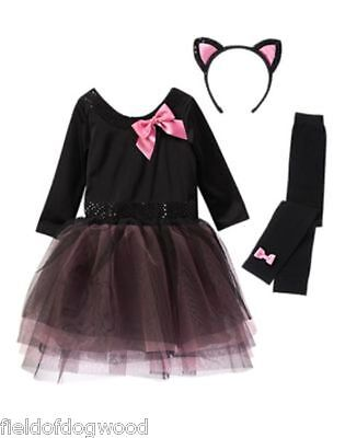 NWT Gymboree Halloween Shop Kitty Cats Tulle Costume Ears Tight 3T-4T Girls