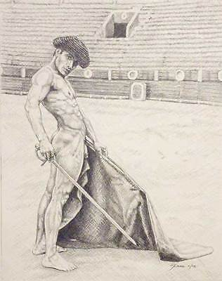 """9"""" x 12"""" drawing print vintage nude male on bull fighter gay mythology"""