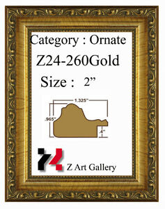 """Picture Frame Gold Ornate 2"""" Wide Solid Wood Size 8""""X10"""" Glass"""
