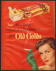 1948 original, full-page, color print ad for Old Gold Cigrettes