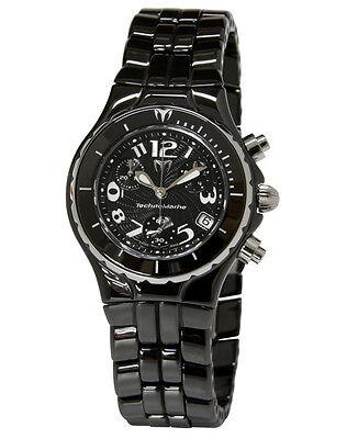 New Womens Technomarine TLCCB02C Chronograph Black Ceramic Bracelet Watch