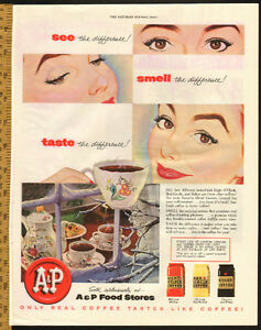 1954 full-page (10 1/2 x 13 1/2) color magazine ad - A&P Coffee