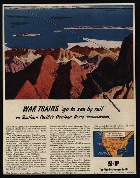 1945 SOUTHERN PACIFIC - WWII - War Trains - Art - Railroad - VINTAGE AD