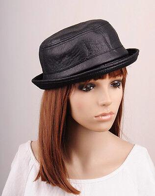 M288 Black Trendy Faux Leather Winter Autumn Hat Cap Fedora Bucket Cowboy Men's - Trendy Fedora Hats