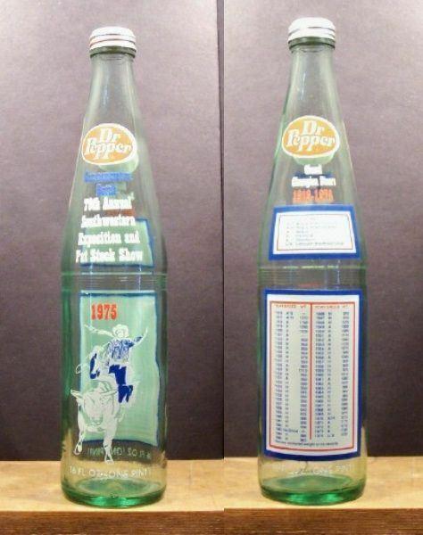 DR Pepper 1975 Southwestern Exposition Champion Steers 16 oz Soda Pop Bottle 395