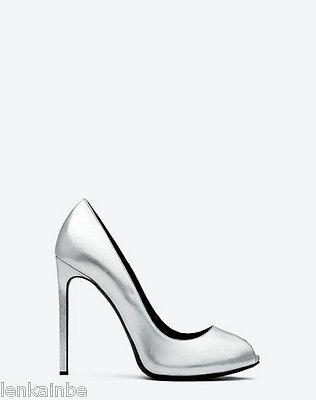 YSL Yves Saint Laurent Metallic Paris Silver Peep Toe Pumps Shoes 38.5 8.5 $785