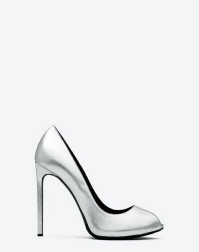 YSL Yves Saint Laurent Metallic Paris Silver Peep Toe Pumps Shoes 385 85 785
