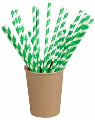 PACKNWOOD 210CHP19 GREEN-STRIPED BIODEGRADABLE PAPER DRINKING STRAW 7.75 INCHES