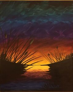 Stormy Sunset - 16X20 Original Acrylic painting