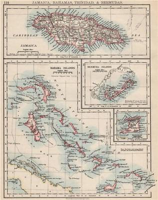 CARIBBEAN/ATLANTIC ISLANDS.Jamaica Bermuda Bahamas Trinidad.  JOHNSTON 1903 map