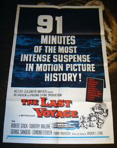 RARE VINTAGE 1960 OCEAN LINER DISASTER ROBERT STACK MOVIE POSTER