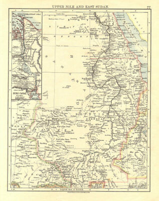 UPPER NILE, EAST SUDAN & SUEZ CANAL. Khartoum.White/Blue Nile. JOHNSTON 1906 map