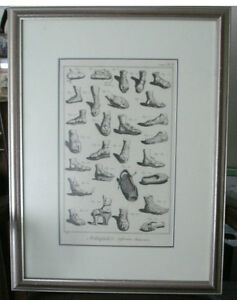 Affiche Estampe Gravure Decorative old prints of ANTIQUES Shoes