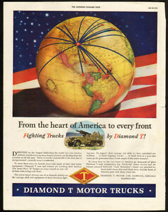 Large 1943 full-page color print ad for Diamond T Trucks
