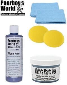 Poorboys Dark Kit Nattys Paste Wax Blue & Black Hole Glaze + 2 Free Cloths Pads