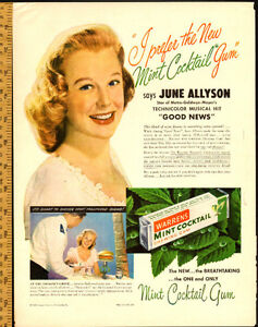 1948 original full-page ad, Warrens Mint Gum with June Allyson