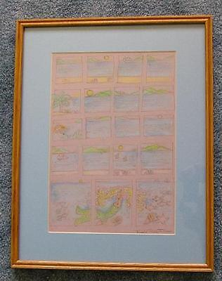 MERMAID TROPICAL OASIS CONTEMPORARY MODERN ARTISTIC NUDE BEACH PASTEL DRAWING
