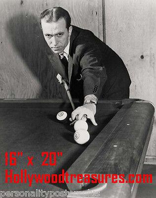 Irving Crane~Playing Pool~Champion~Pool Hall~Billiards~Shooting Pool~16x20 Photo