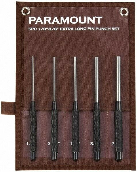"""Paramount 5 Piece Pin Punch Set 1/8 to 3/8"""" Round Shank, Comes in Canvas Roll"""