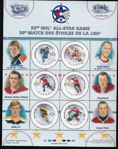 NHL-50th ALL STAR Game - Postage Stamps-Orr / Howe/ Gretzky +