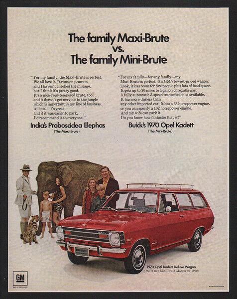 1970 BUICK OPEL KADETT Deluxe Wagon Red Car - Cheetah - Elephant VINTAGE AD