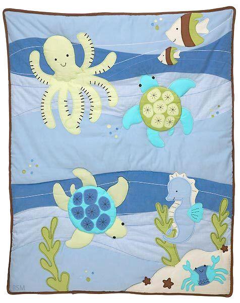 Nojo - Sea Babies Applique Baby Crib Comforter - Seahorse -