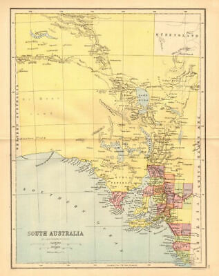 SOUTH AUSTRALIA. State map shows 24 counties. Railways. Adelaide 1876 old