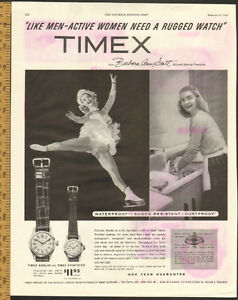 1954 magazine ad for Timex with skater Barbara Ann Scott