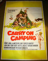 RARE 1970 BRITISH UK CARRY ON GANG CAMPING MOVIE POSTER SEXY ART