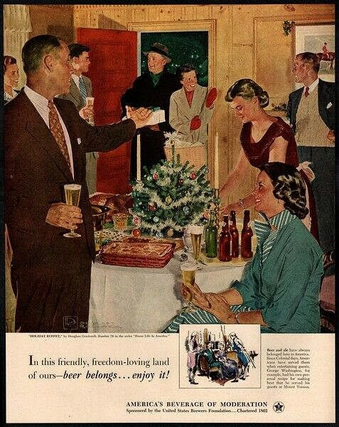 1952 BEER - DOUGLAS CROCKWELL ART - Christmas Dinner - Holiday Family VINTAGE AD