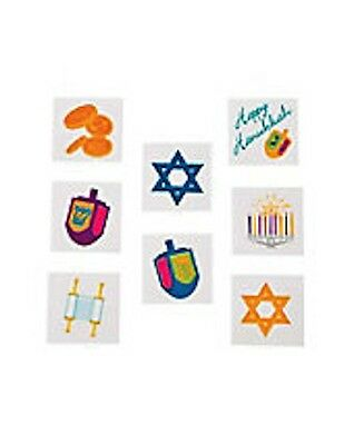 12 Hanukkah Holiday Tattoos Party Favors Teacher Supply Dreidel Menorah Star (Hanukkah Supplies)