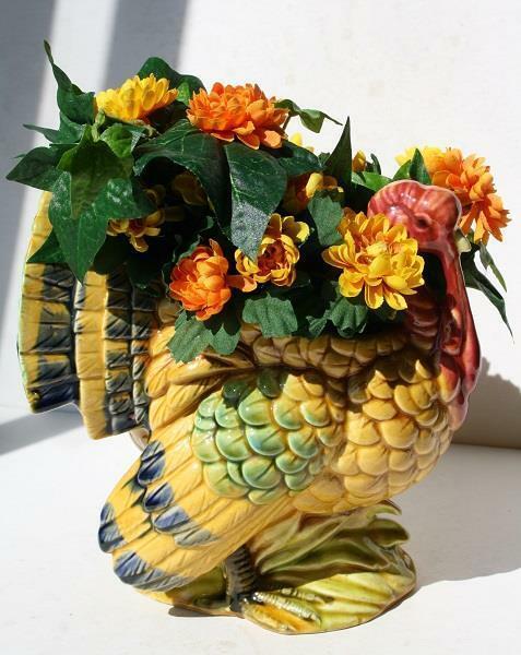 Thanksgiving Turkey Figure Lefton Planter Flowers Centerpiece Ceramic Porcelain