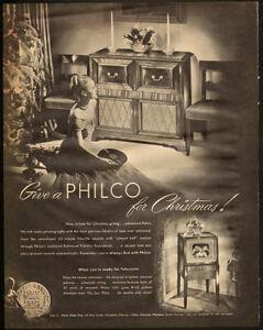 Large 1948 original, print ad for Philco radio phonograph