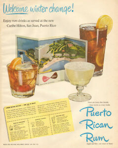Large 1950 full-page, color print ad for Puerto Rican Rum