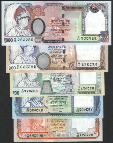 NEPAL K. GYANENDRA 2nd ISSUE high value complete SET sign 15, P- 47b to 51b UNC