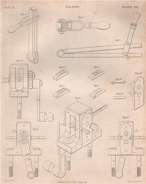 GLASS MANUFACTURING equipment. BRITANNICA 1860 old antique print picture