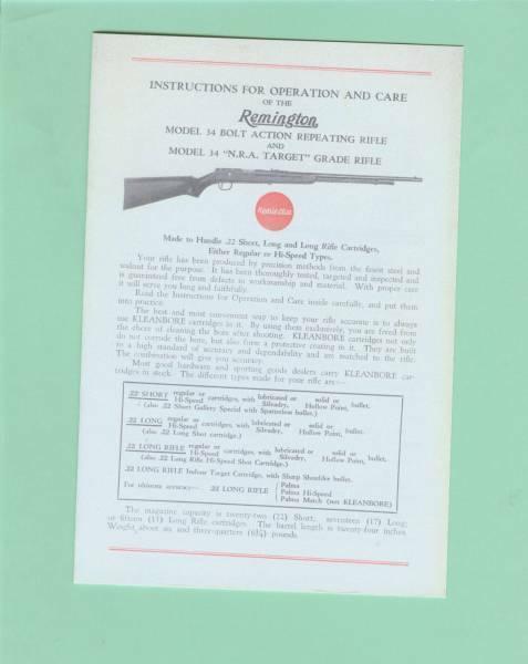 Remington Model 34 Owners Manual Reproduction