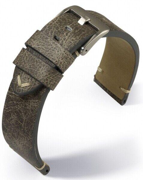 Eulit Uhrenarmband Armband Vintage Leder Grau-Braun Used-Optik 22 mm Stegbreite