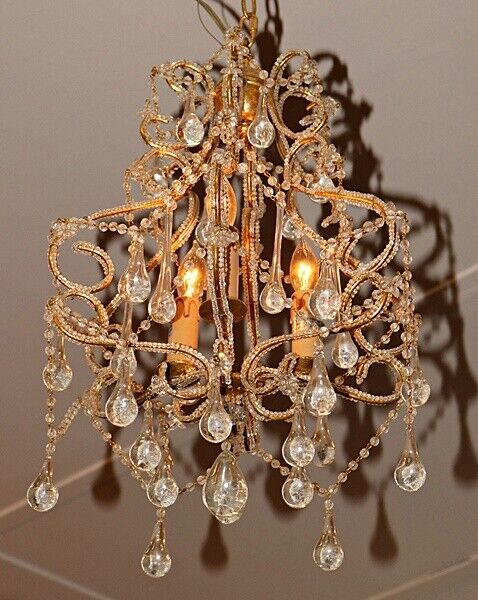 Beautiful 3 Light Beaded Crystal Tear Drop Chandelier