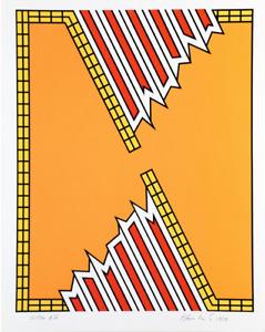 Nicholas Krushenick, Deep Down Orange, Serigraph - Pop art -