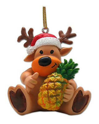 Hawaiian Christmas Ornaments Reindeer Shaka Pineapple Poly Resin Hawaii NIB](Reindeer Christmas Ornaments)