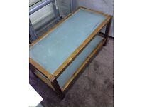 Nice Wooden 2 Tier Coffee Table with Glass inserts Can Deliver