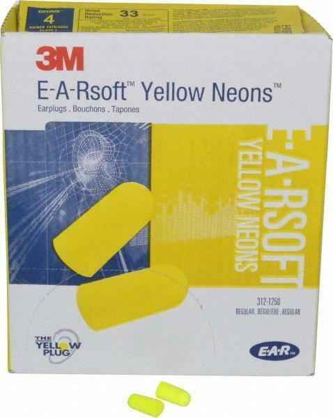 3M E-A-Rsoft 312-1250 Yellow Neon Dispose Earplug 33dB SleepAid Various Quantity Hearing Protection