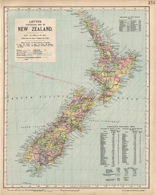 NEW ZEALAND Lighthouses railways telegraph cables ocean currents. LETTS 1889 map