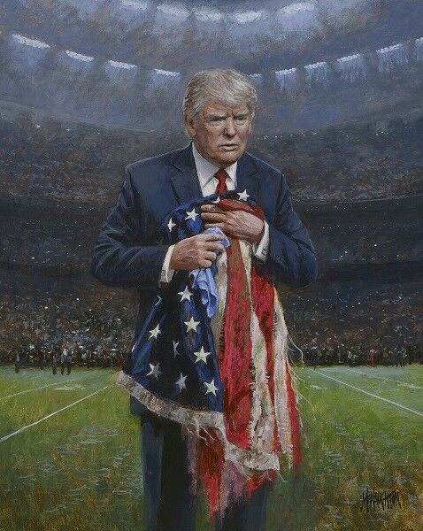 Jon McNaughton RESPECT THE FLAG 20x16 Signed Donald Trump Paper NFL Football Art