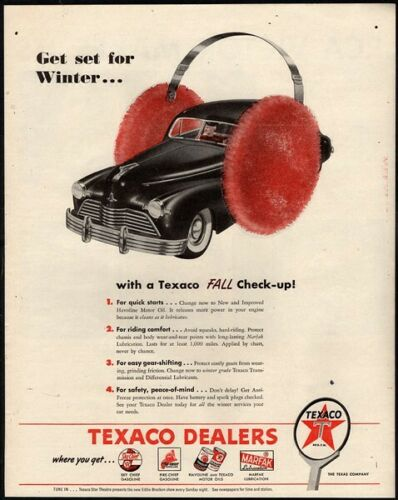 1946 TEXACO Gasoline - Hardtop Automobile Car - Earmuffs - Winter VINTAGE AD
