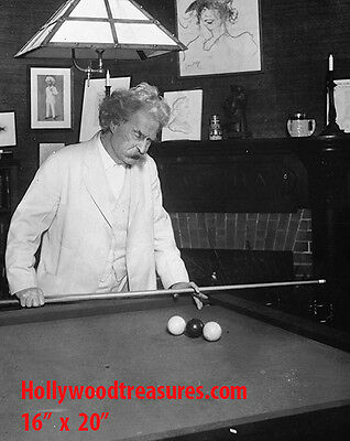 "Mark Twain~Playing Pool~Billiards~Shooting Pool~Poster~Photo~ 16"" x  20"""