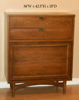 Antique Chest with 4-drawer &Bookshelf With Sliding Glass Doors