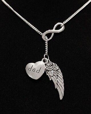 Memorial Necklace Dad Guardian Angel Wing Heaven Sympathy Infinity Lariat - Guardian Angel Necklace
